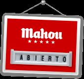 Cartel tienda Mahou, abierta